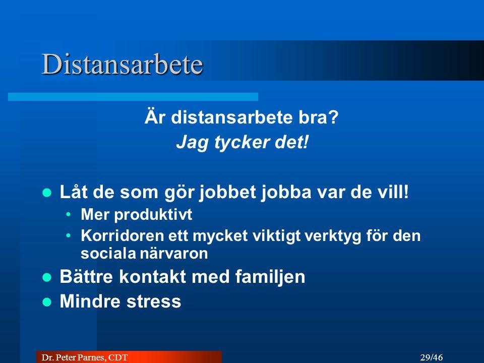 29/46 Dr.Peter Parnes, CDT Distansarbete Är distansarbete bra.