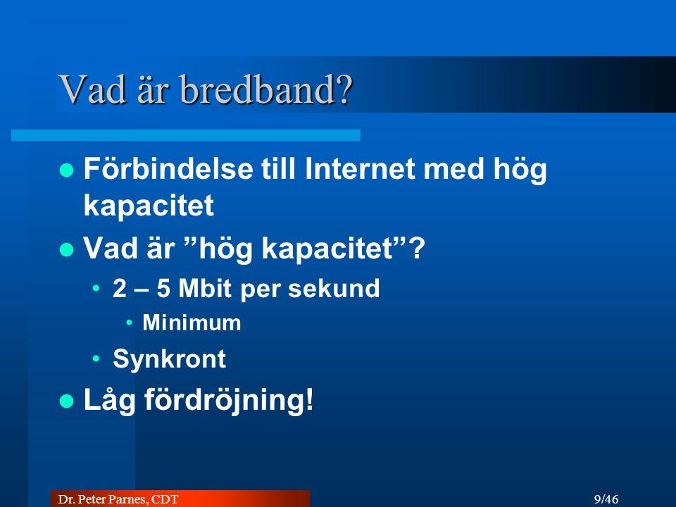 10/46 Dr. Peter Parnes, CDT Tekniker... Koppar ADSL / VDSL Radiolänk Satelit Fiber DVB/DAB UMTS