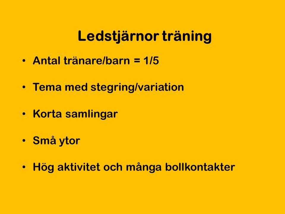 Ledstjärnor träning Antal tränare/barn = 1/5 Tema med stegring/variation Korta samlingar Små ytor Hög aktivitet och många bollkontakter
