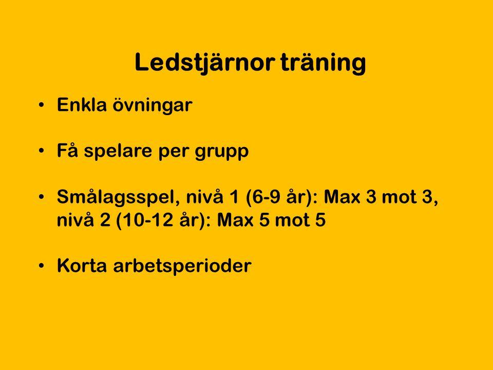 Ledstjärnor träning Enkla övningar Få spelare per grupp Smålagsspel, nivå 1 (6-9 år): Max 3 mot 3, nivå 2 (10-12 år): Max 5 mot 5 Korta arbetsperioder