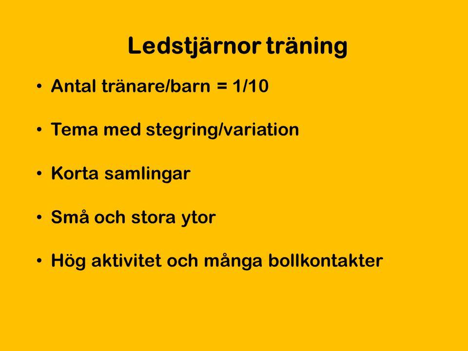 Ledstjärnor träning Antal tränare/barn = 1/10 Tema med stegring/variation Korta samlingar Små och stora ytor Hög aktivitet och många bollkontakter