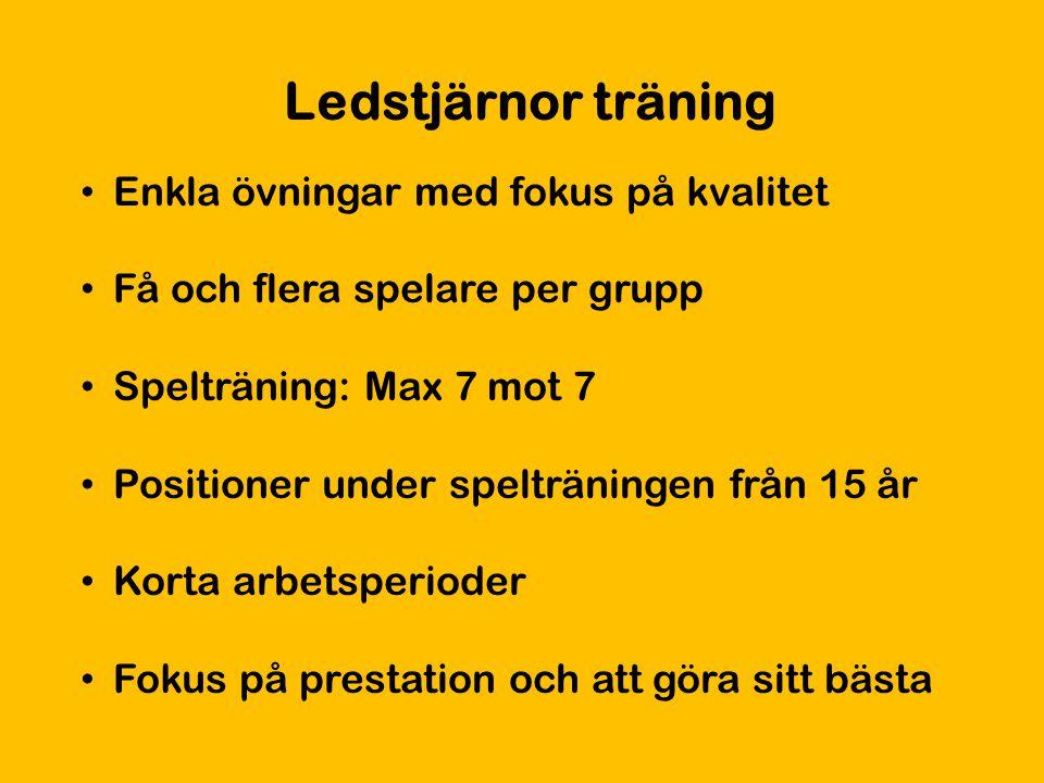 Ledstjärnor träning Enkla övningar med fokus på kvalitet Få och flera spelare per grupp Spelträning: Max 7 mot 7 Positioner under spelträningen från 1