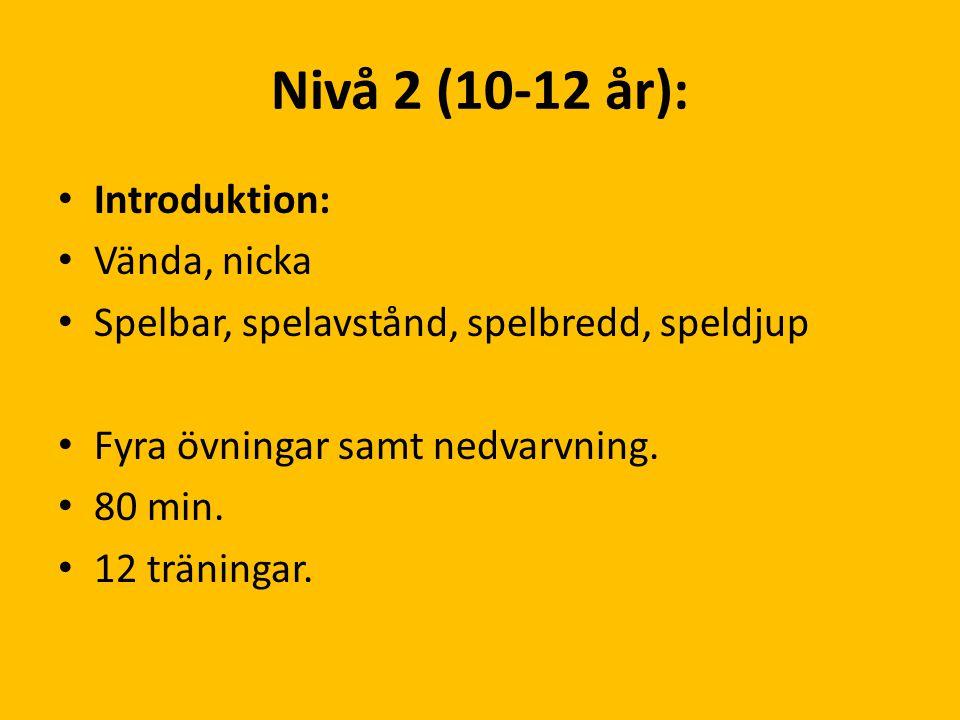 Nivå 2 (10-12 år): Introduktion: Vända, nicka Spelbar, spelavstånd, spelbredd, speldjup Fyra övningar samt nedvarvning. 80 min. 12 träningar.