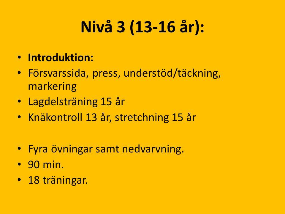 Nivå 3 (13-16 år): Introduktion: Försvarssida, press, understöd/täckning, markering Lagdelsträning 15 år Knäkontroll 13 år, stretchning 15 år Fyra övn
