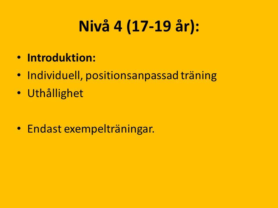Nivå 4 (17-19 år): Introduktion: Individuell, positionsanpassad träning Uthållighet Endast exempelträningar.