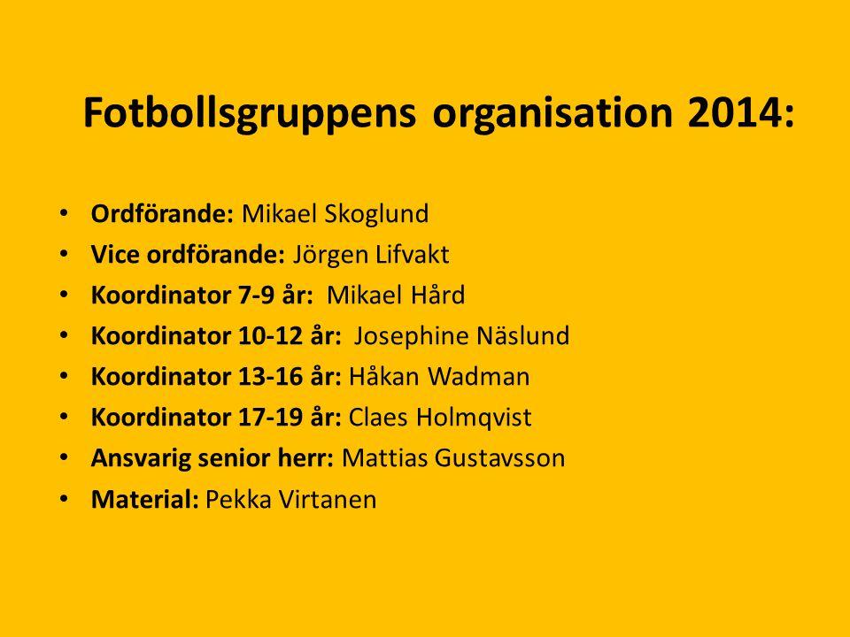 Fotbollsgruppens organisation 2014: Ordförande: Mikael Skoglund Vice ordförande: Jörgen Lifvakt Koordinator 7-9 år: Mikael Hård Koordinator 10-12 år: