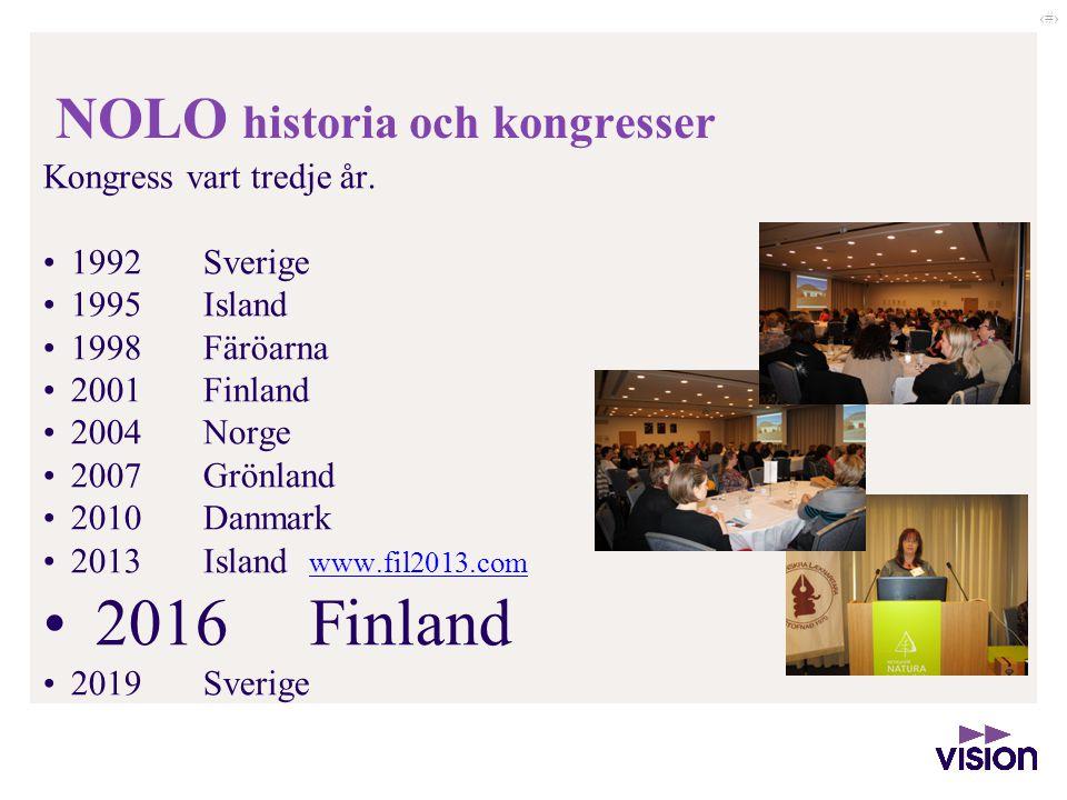 ‹#› NOLO historia och kongresser Kongress vart tredje år. 1992 Sverige 1995 Island 1998 Färöarna 2001 Finland 2004 Norge 2007 Grönland 2010 Danmark 20