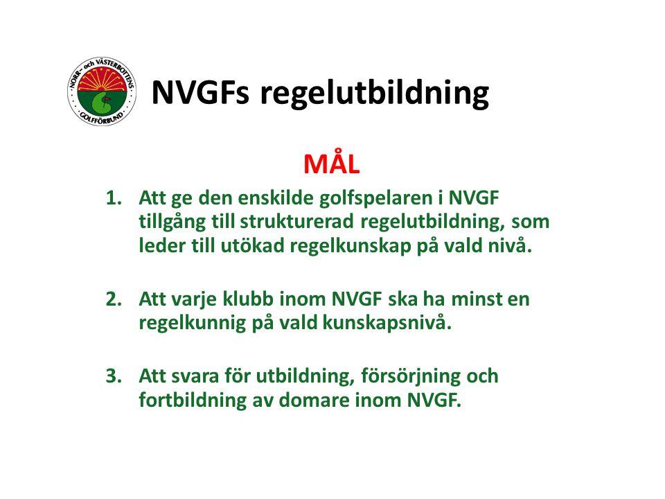 NVGFs regelutbildning MÅL 1.Att ge den enskilde golfspelaren i NVGF tillgång till strukturerad regelutbildning, som leder till utökad regelkunskap på vald nivå.