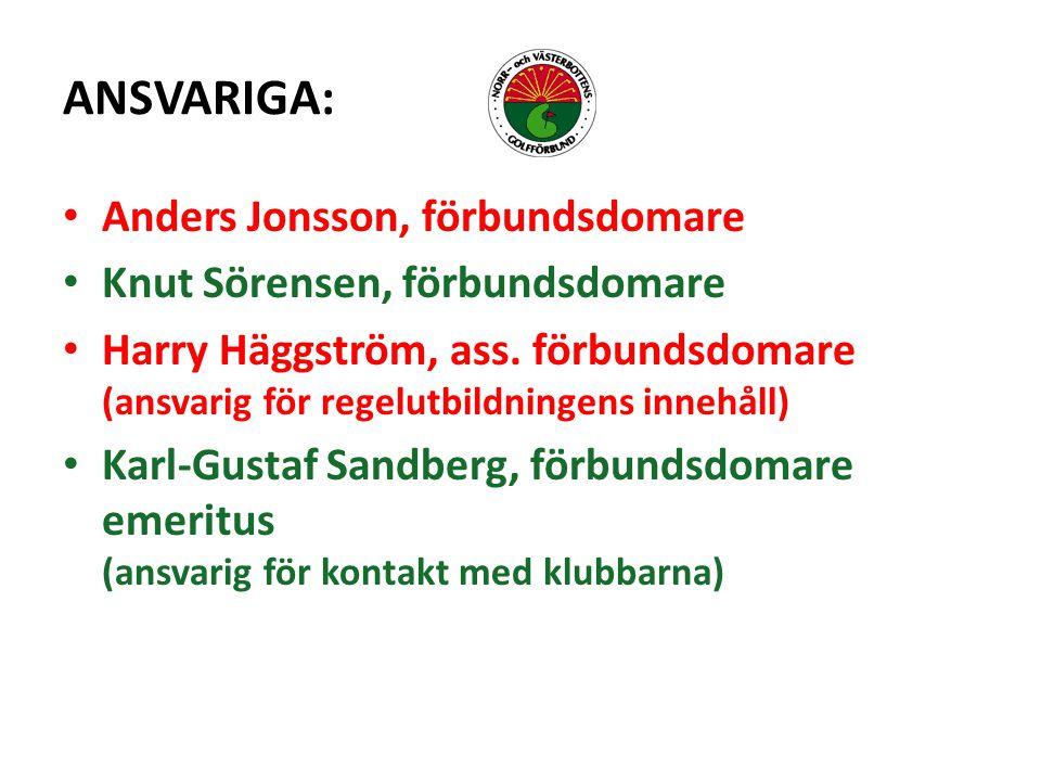 ANSVARIGA: Anders Jonsson, förbundsdomare Knut Sörensen, förbundsdomare Harry Häggström, ass.