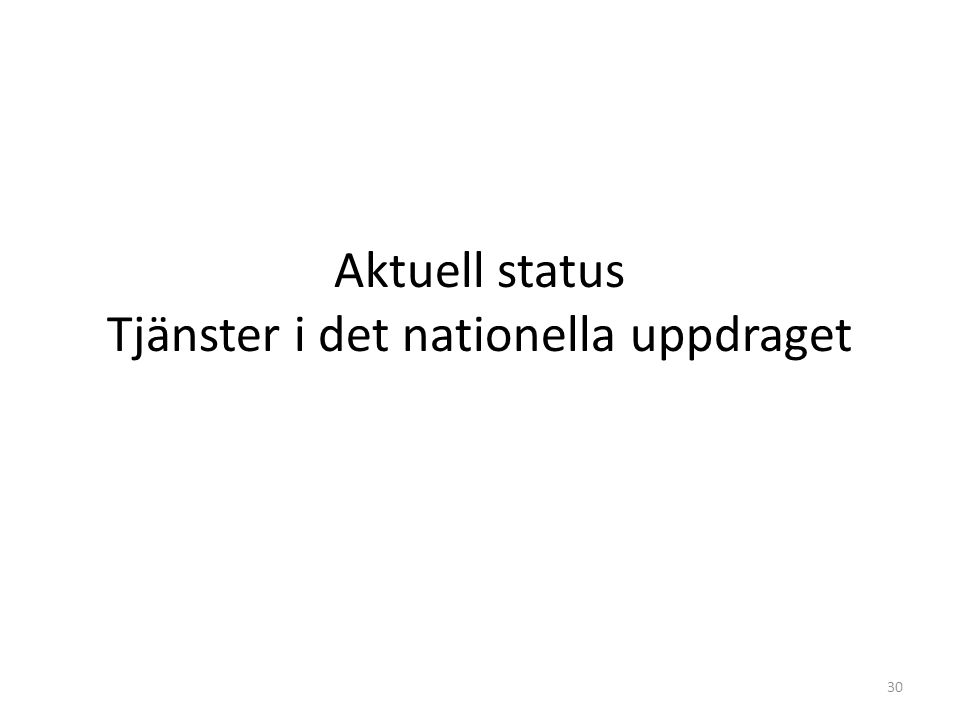 Aktuell status Tjänster i det nationella uppdraget 30