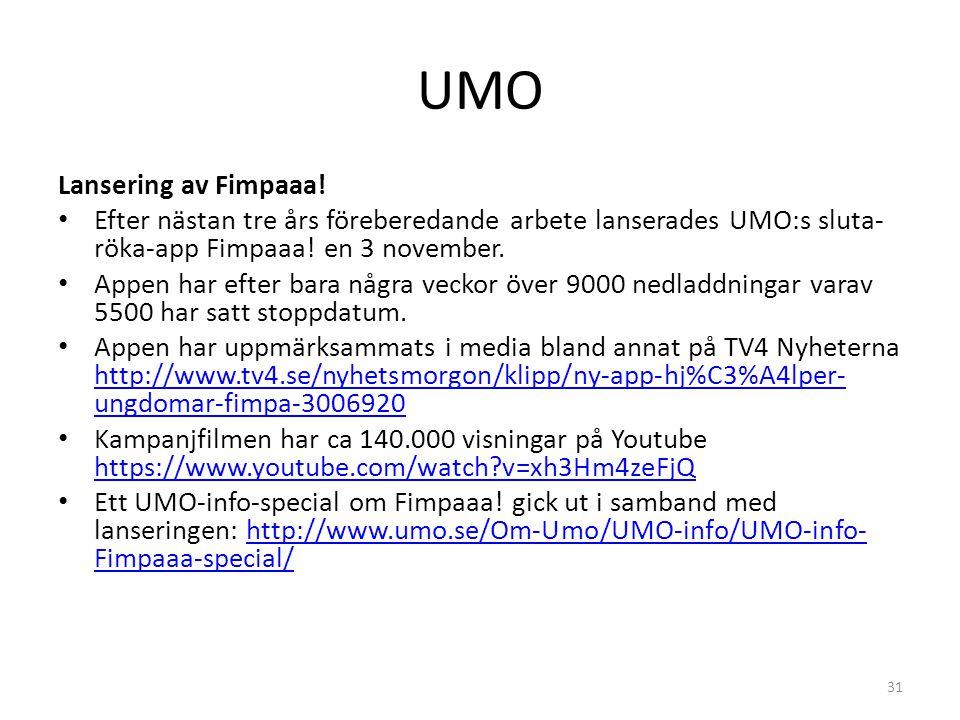 UMO Lansering av Fimpaaa! Efter nästan tre års föreberedande arbete lanserades UMO:s sluta- röka-app Fimpaaa! en 3 november. Appen har efter bara någr