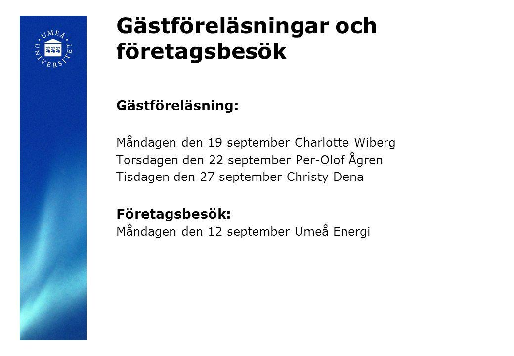Gästföreläsningar och företagsbesök Gästföreläsning: Måndagen den 19 september Charlotte Wiberg Torsdagen den 22 september Per-Olof Ågren Tisdagen den 27 september Christy Dena Företagsbesök: Måndagen den 12 september Umeå Energi