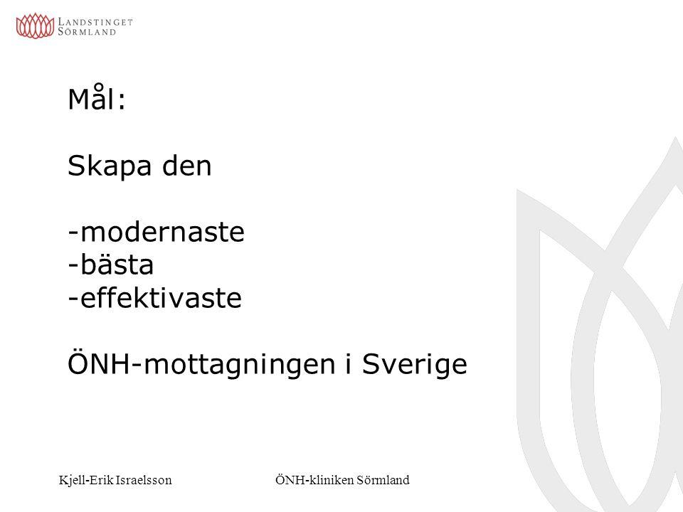 Kjell-Erik IsraelssonÖNH-kliniken Sörmland Mål: Skapa den -modernaste -bästa -effektivaste ÖNH-mottagningen i Sverige