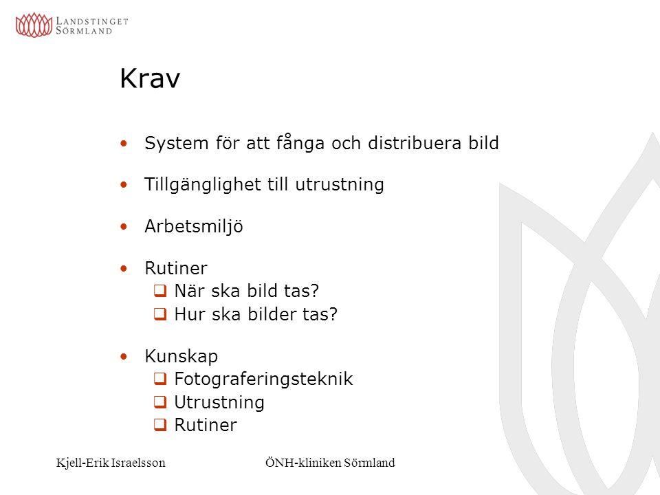 Kjell-Erik IsraelssonÖNH-kliniken Sörmland Krav System för att fånga och distribuera bild Tillgänglighet till utrustning Arbetsmiljö Rutiner  När ska