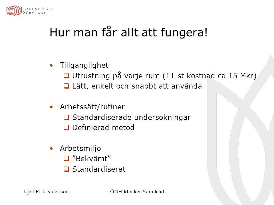 Kjell-Erik IsraelssonÖNH-kliniken Sörmland Hur man får allt att fungera! Tillgänglighet  Utrustning på varje rum (11 st kostnad ca 15 Mkr)  Lätt, en