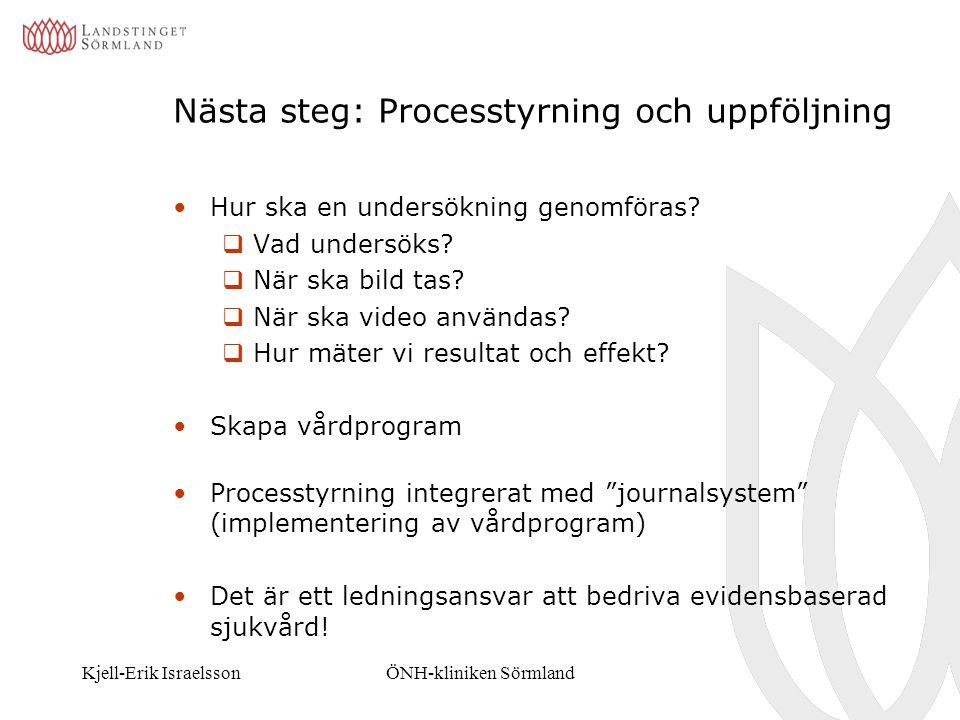 Kjell-Erik IsraelssonÖNH-kliniken Sörmland Nästa steg: Processtyrning och uppföljning Hur ska en undersökning genomföras?  Vad undersöks?  När ska b