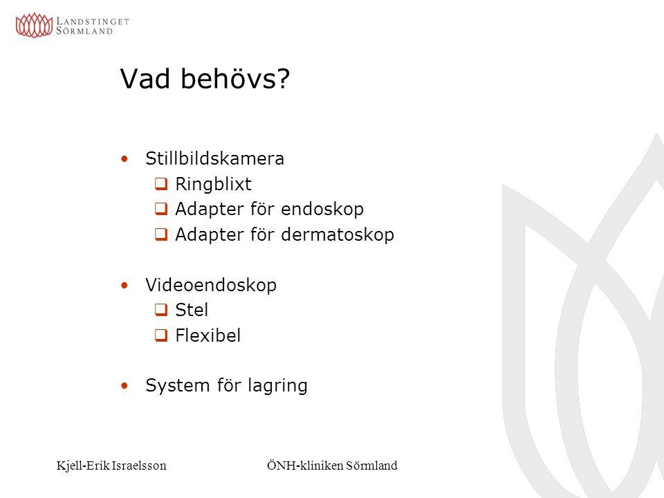Kjell-Erik IsraelssonÖNH-kliniken Sörmland Vad behövs? Stillbildskamera  Ringblixt  Adapter för endoskop  Adapter för dermatoskop Videoendoskop  S