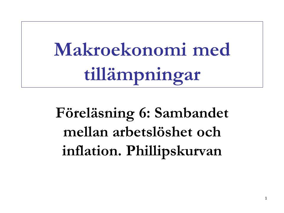 1 Makroekonomi med tillämpningar Föreläsning 6: Sambandet mellan arbetslöshet och inflation. Phillipskurvan
