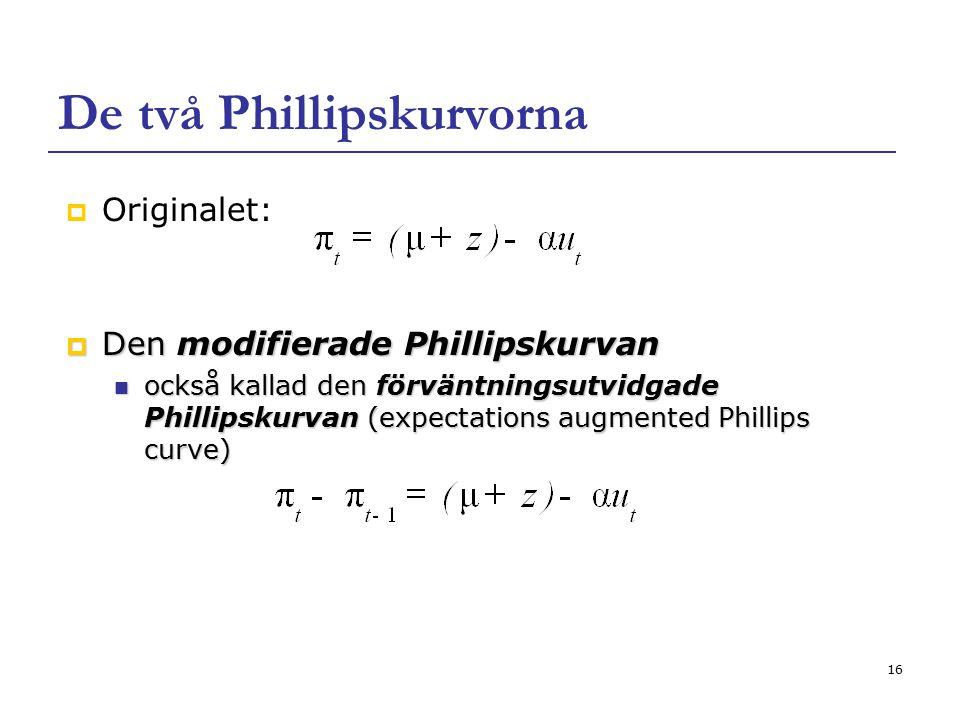 16 De två Phillipskurvorna  Originalet:  Den modifierade Phillipskurvan också kallad den förväntningsutvidgade Phillipskurvan (expectations augmente