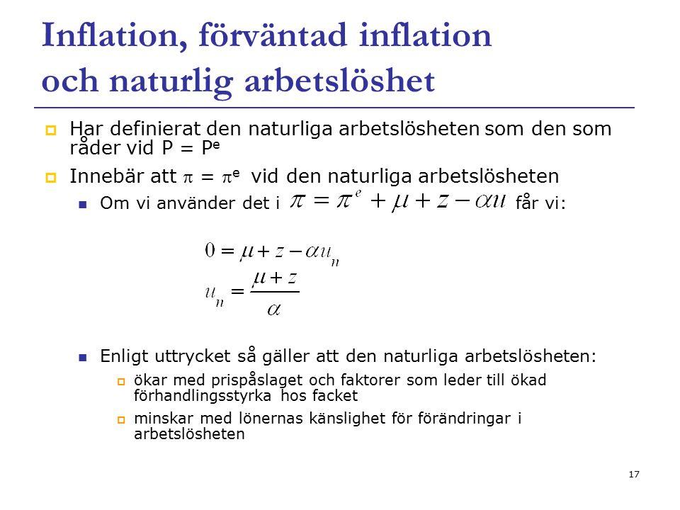 17 Inflation, förväntad inflation och naturlig arbetslöshet  Har definierat den naturliga arbetslösheten som den som råder vid P = P e  Innebär att