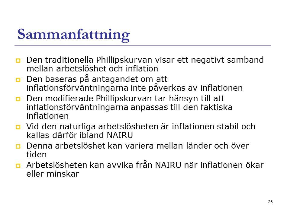 26 Sammanfattning  Den traditionella Phillipskurvan visar ett negativt samband mellan arbetslöshet och inflation  Den baseras på antagandet om att i