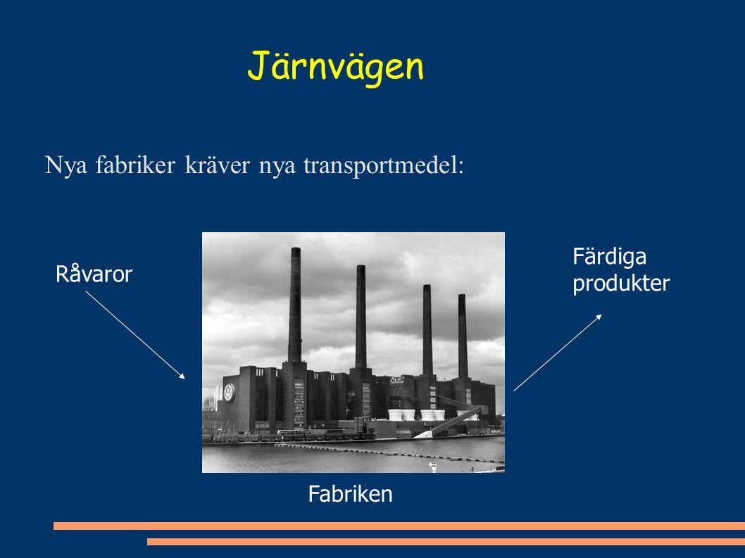 Nya fabriker kräver nya transportmedel: Råvaror Färdiga produkter Fabriken