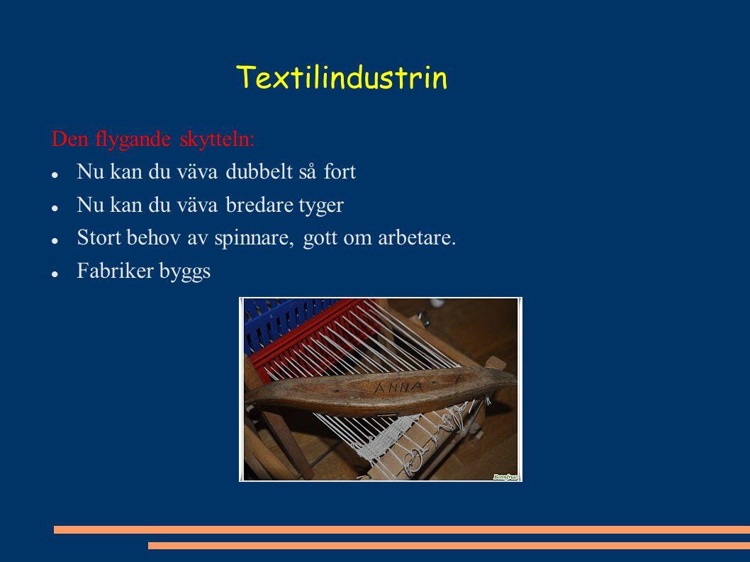 Textilindustrin Den flygande skytteln: Nu kan du väva dubbelt så fort Nu kan du väva bredare tyger Stort behov av spinnare, gott om arbetare. Fabriker