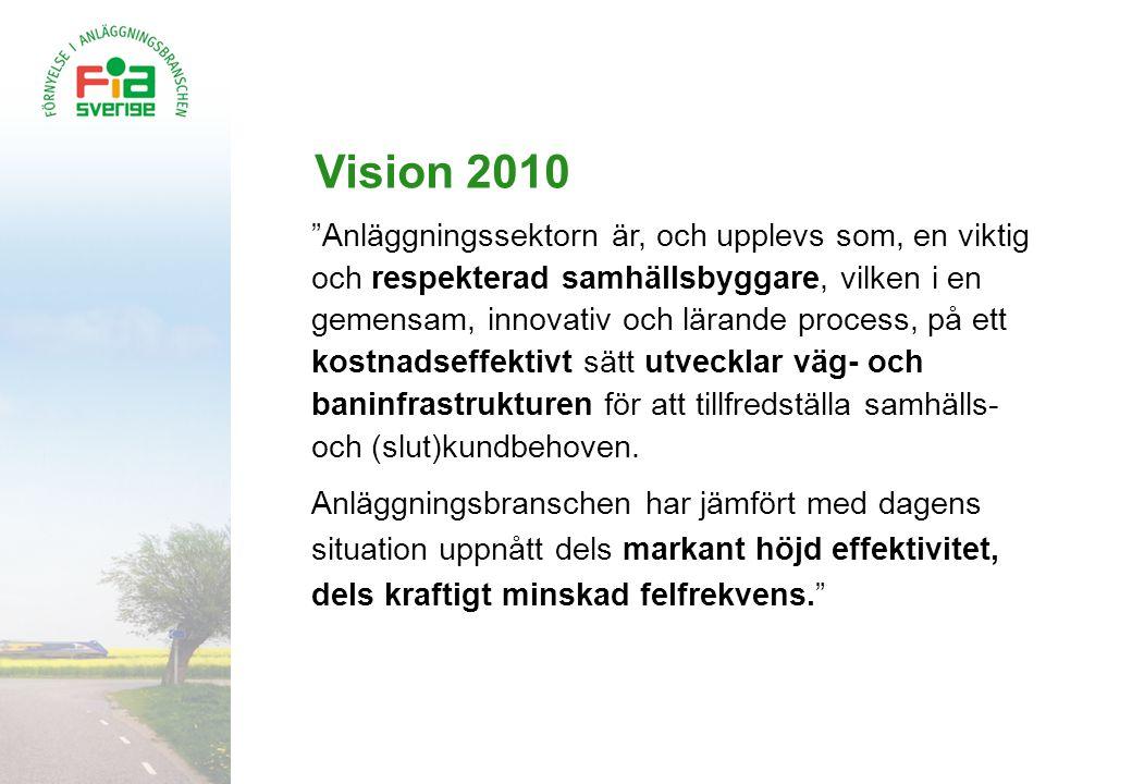 """Vision 2010 """"Anläggningssektorn är, och upplevs som, en viktig och respekterad samhällsbyggare, vilken i en gemensam, innovativ och lärande process, p"""