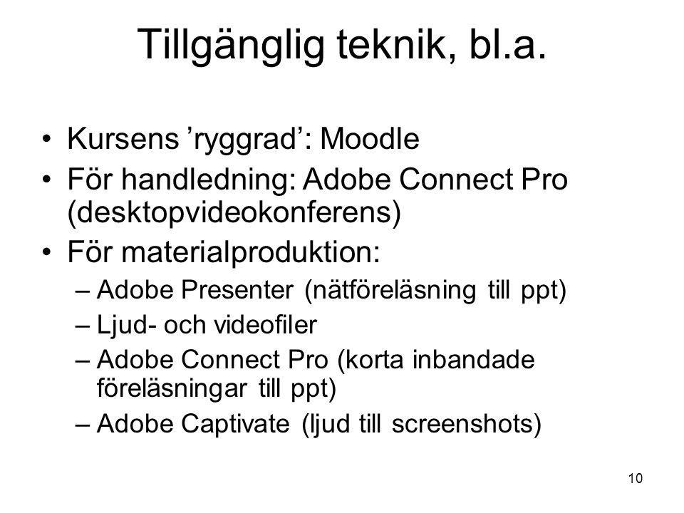 10 Tillgänglig teknik, bl.a.