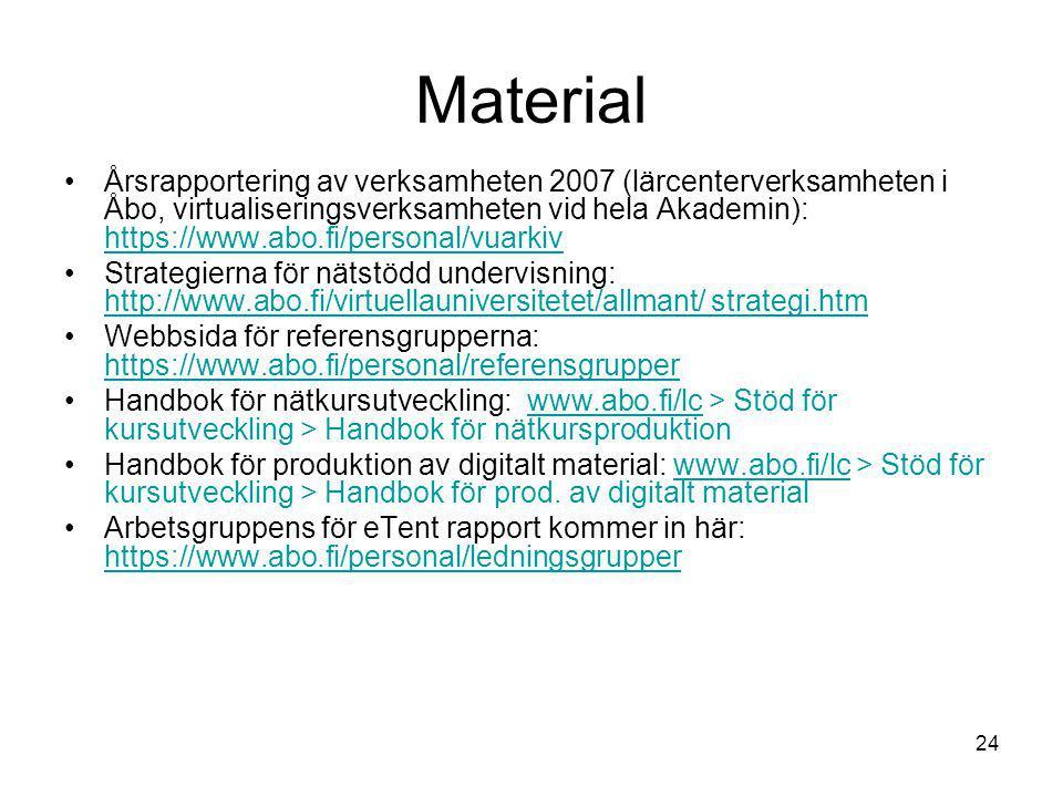 24 Material Årsrapportering av verksamheten 2007 (lärcenterverksamheten i Åbo, virtualiseringsverksamheten vid hela Akademin): https://www.abo.fi/personal/vuarkiv https://www.abo.fi/personal/vuarkiv Strategierna för nätstödd undervisning: http://www.abo.fi/virtuellauniversitetet/allmant/ strategi.htm http://www.abo.fi/virtuellauniversitetet/allmant/ strategi.htm Webbsida för referensgrupperna: https://www.abo.fi/personal/referensgrupper https://www.abo.fi/personal/referensgrupper Handbok för nätkursutveckling: www.abo.fi/lc > Stöd för kursutveckling > Handbok för nätkursproduktionwww.abo.fi/lc Handbok för produktion av digitalt material: www.abo.fi/lc > Stöd för kursutveckling > Handbok för prod.