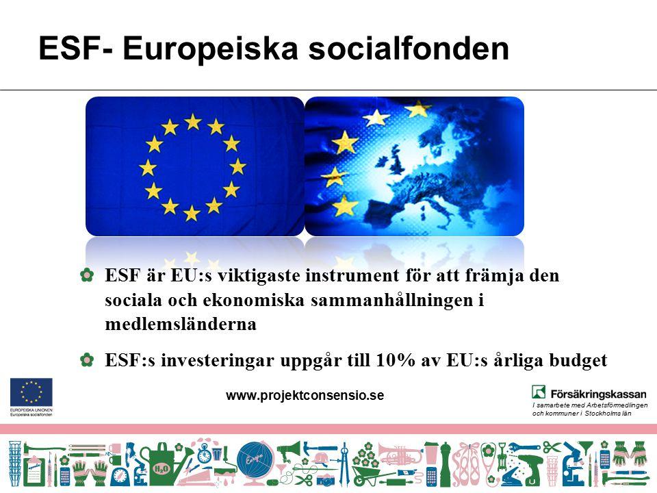I samarbete med Arbetsförmedlingen och kommuner i Stockholms län ESF- Europeiska socialfonden ESF är EU:s viktigaste instrument för att främja den soc