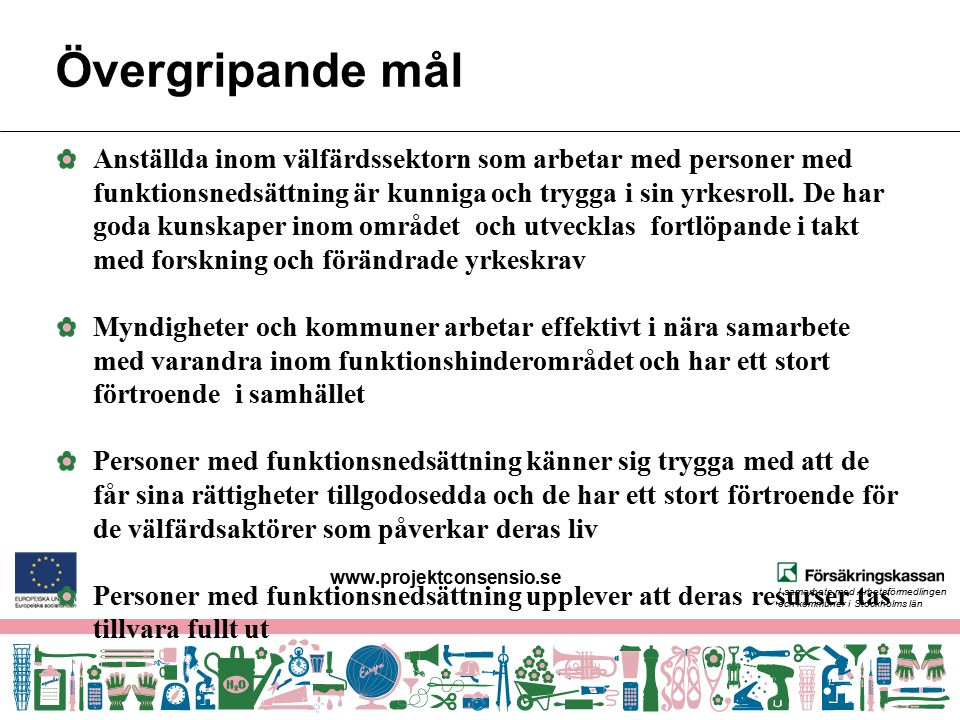 I samarbete med Arbetsförmedlingen och kommuner i Stockholms län Övergripande mål Anställda inom välfärdssektorn som arbetar med personer med funktion