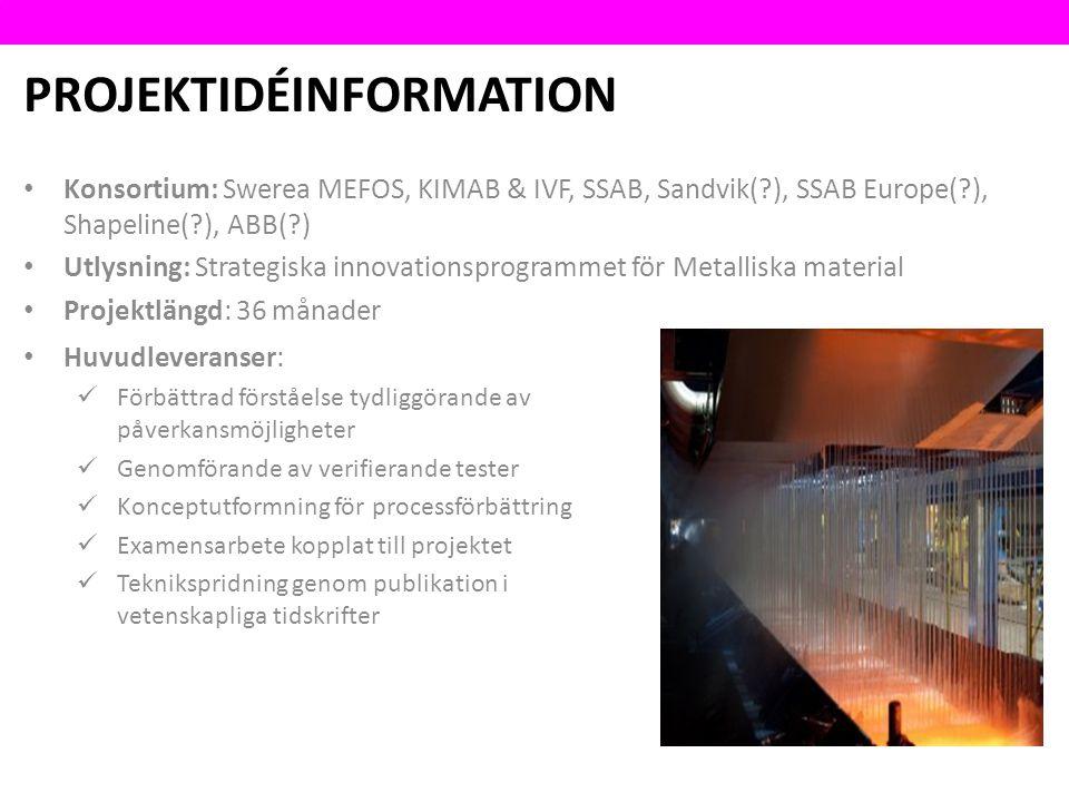PROJEKTIDÉINFORMATION Konsortium: Swerea MEFOS, KIMAB & IVF, SSAB, Sandvik( ), SSAB Europe( ), Shapeline( ), ABB( ) Utlysning: Strategiska innovationsprogrammet för Metalliska material Projektlängd: 36 månader Huvudleveranser: Förbättrad förståelse tydliggörande av påverkansmöjligheter Genomförande av verifierande tester Konceptutformning för processförbättring Examensarbete kopplat till projektet Teknikspridning genom publikation i vetenskapliga tidskrifter
