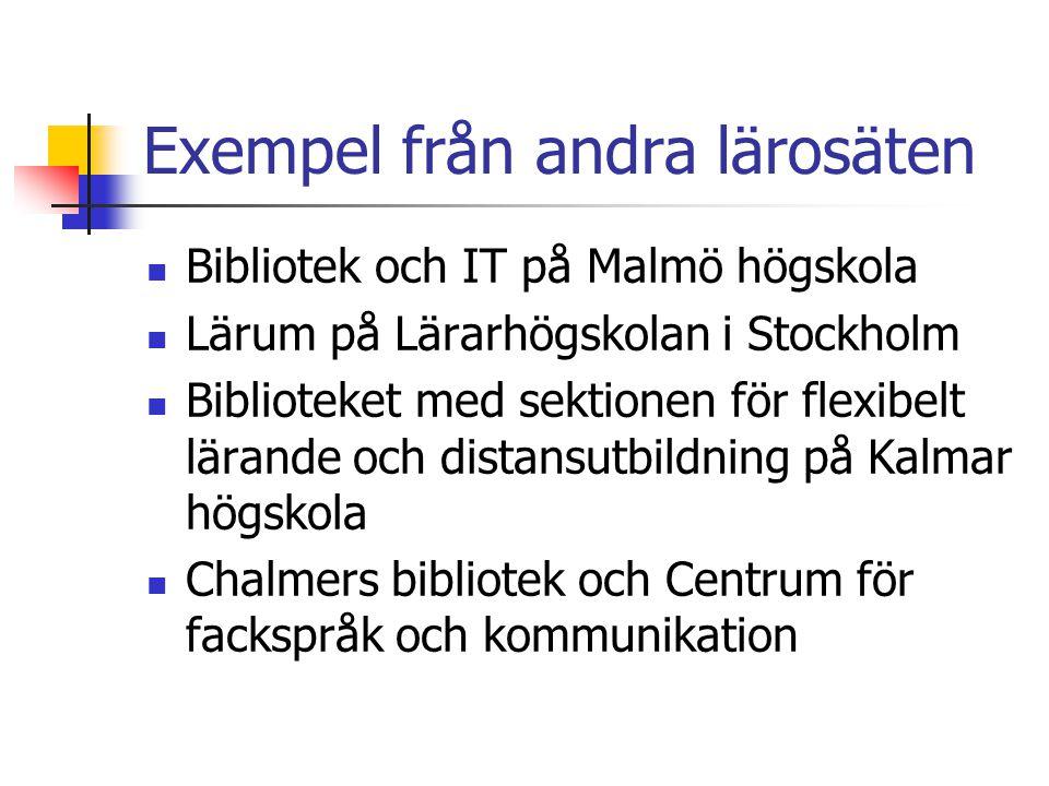 Exempel från andra lärosäten Bibliotek och IT på Malmö högskola Lärum på Lärarhögskolan i Stockholm Biblioteket med sektionen för flexibelt lärande och distansutbildning på Kalmar högskola Chalmers bibliotek och Centrum för fackspråk och kommunikation