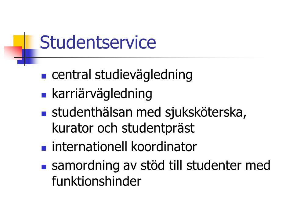 Studentservice central studievägledning karriärvägledning studenthälsan med sjuksköterska, kurator och studentpräst internationell koordinator samordning av stöd till studenter med funktionshinder