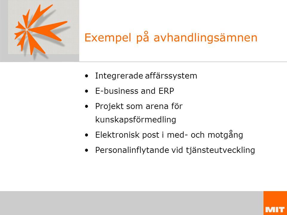 Exempel på avhandlingsämnen Integrerade affärssystem E-business and ERP Projekt som arena för kunskapsförmedling Elektronisk post i med- och motgång Personalinflytande vid tjänsteutveckling