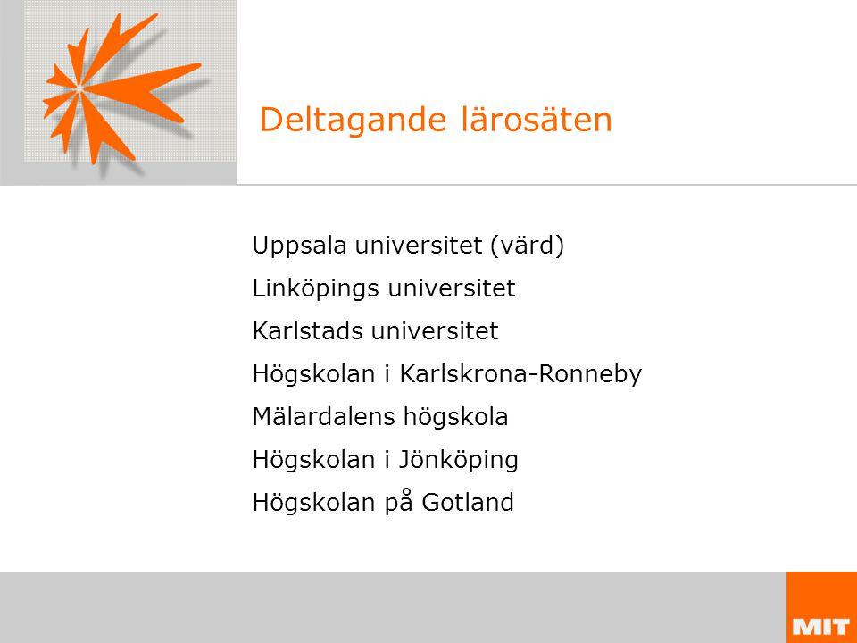 Deltagande lärosäten Uppsala universitet (värd) Linköpings universitet Karlstads universitet Högskolan i Karlskrona-Ronneby Mälardalens högskola Högskolan i Jönköping Högskolan på Gotland