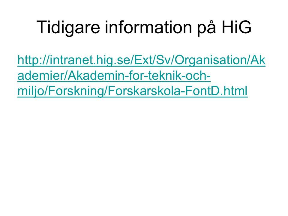 Tidigare information på HiG http://intranet.hig.se/Ext/Sv/Organisation/Ak ademier/Akademin-for-teknik-och- miljo/Forskning/Forskarskola-FontD.html