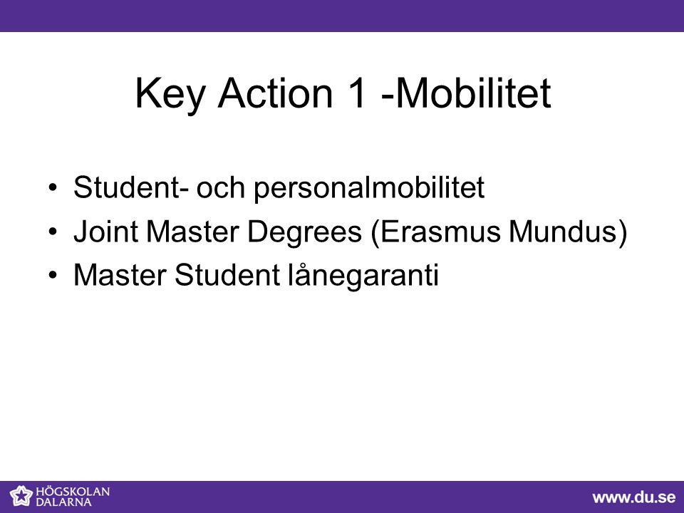 Key Action 1 -Mobilitet Student- och personalmobilitet Joint Master Degrees (Erasmus Mundus) Master Student lånegaranti