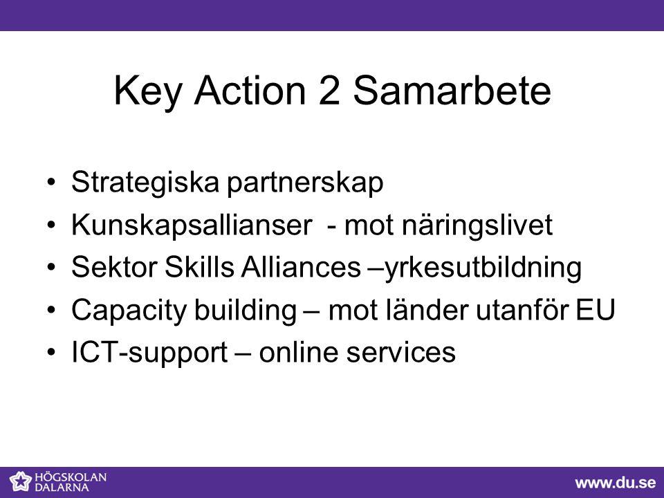 Key Action 2 Samarbete Strategiska partnerskap Kunskapsallianser - mot näringslivet Sektor Skills Alliances –yrkesutbildning Capacity building – mot länder utanför EU ICT-support – online services