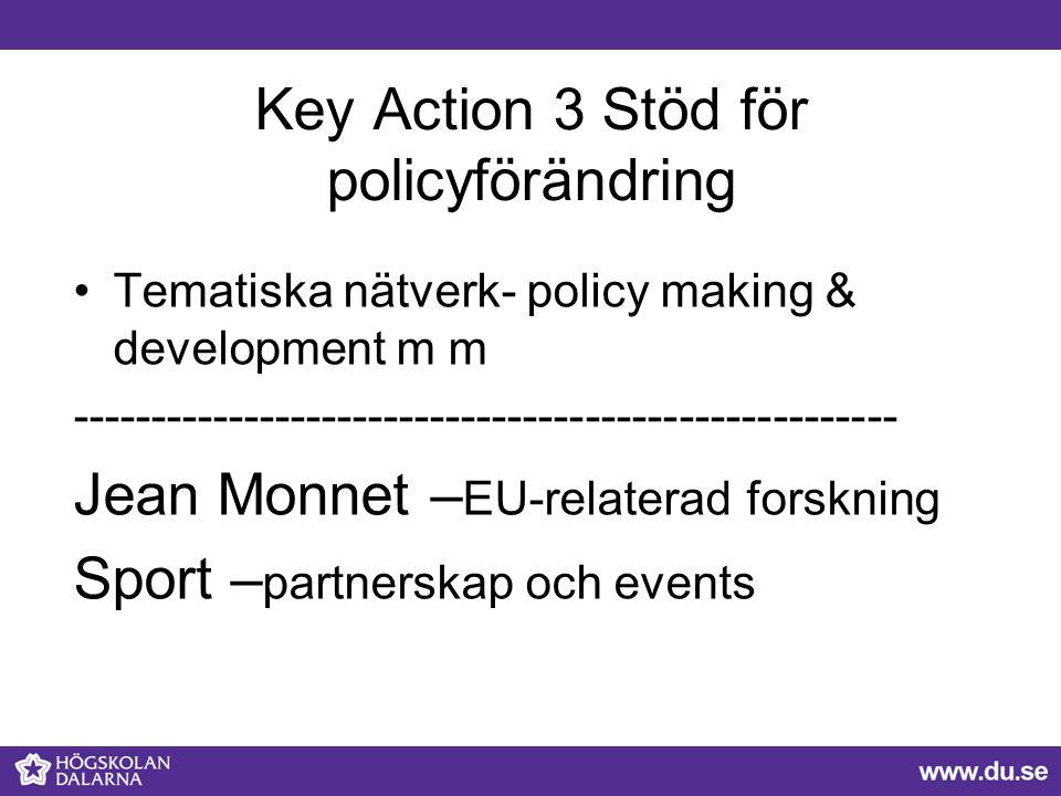 Key Action 3 Stöd för policyförändring Tematiska nätverk- policy making & development m m ----------------------------------------------------- Jean M