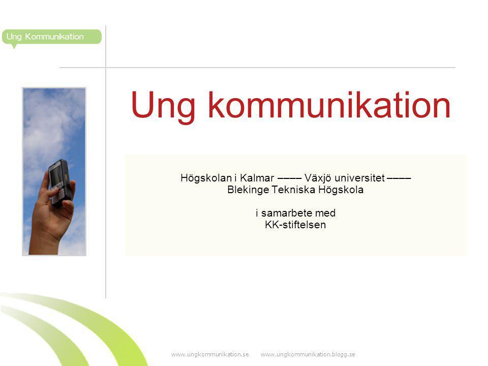 www.ungkommunikation.se www.ungkommunikation.blogg.se Ung kommunikation Högskolan i Kalmar –––– Växjö universitet –––– Blekinge Tekniska Högskola i samarbete med KK-stiftelsen
