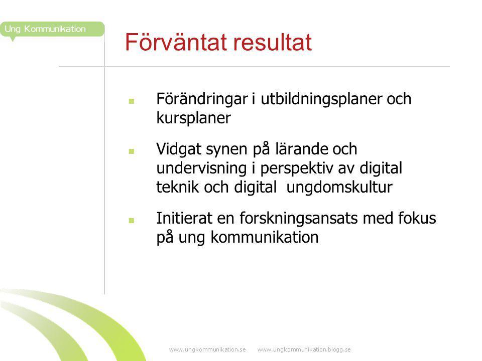 www.ungkommunikation.se www.ungkommunikation.blogg.se Förväntat resultat Förändringar i utbildningsplaner och kursplaner Vidgat synen på lärande och u