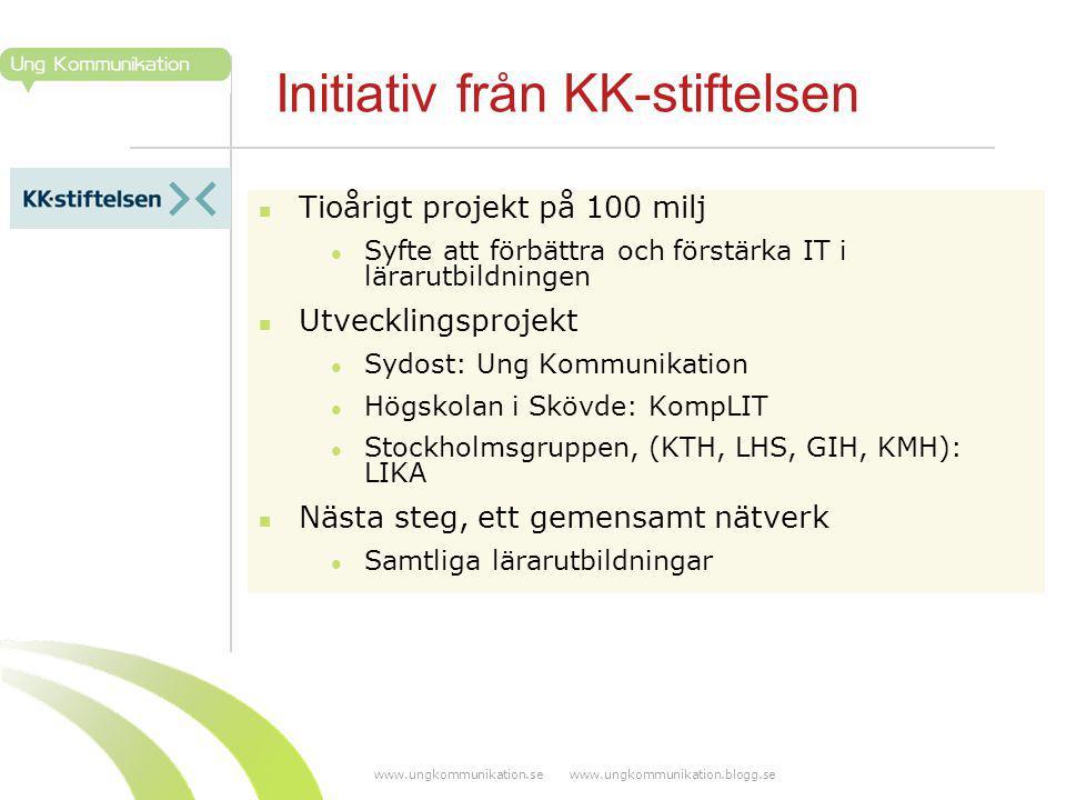 www.ungkommunikation.se www.ungkommunikation.blogg.se Initiativ från KK-stiftelsen Tioårigt projekt på 100 milj Syfte att förbättra och förstärka IT i