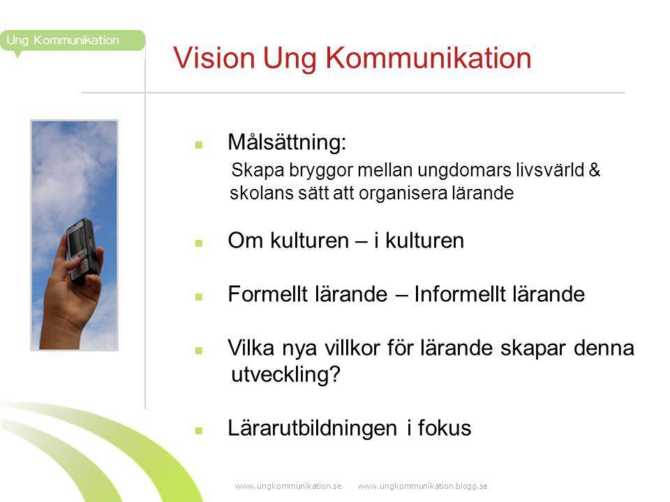 www.ungkommunikation.se www.ungkommunikation.blogg.se Vision Ung Kommunikation Målsättning: Skapa bryggor mellan ungdomars livsvärld & skolans sätt att organisera lärande Om kulturen – i kulturen Formellt lärande – Informellt lärande Vilka nya villkor för lärande skapar denna utveckling.