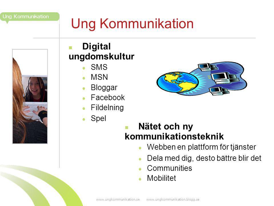 www.ungkommunikation.se www.ungkommunikation.blogg.se Ung Kommunikation Digital ungdomskultur SMS MSN Bloggar Facebook Fildelning Spel Nätet och ny kommunikationsteknik Webben en plattform för tjänster Dela med dig, desto bättre blir det Communities Mobilitet