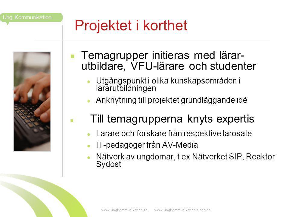 www.ungkommunikation.se www.ungkommunikation.blogg.se Projektet i korthet Temagrupper initieras med lärar- utbildare, VFU-lärare och studenter Utgångs