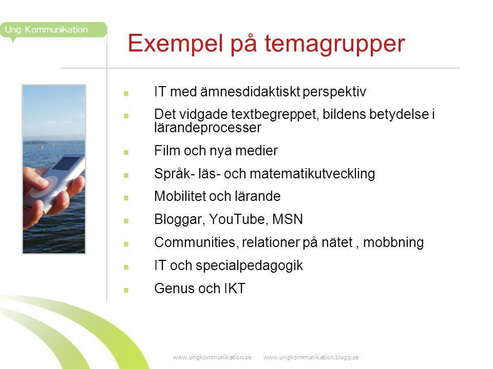 www.ungkommunikation.se www.ungkommunikation.blogg.se Exempel på temagrupper IT med ämnesdidaktiskt perspektiv Det vidgade textbegreppet, bildens bety