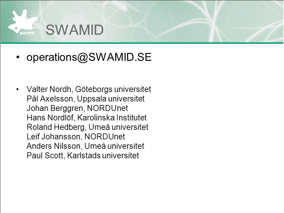 SWAMID operations@SWAMID.SE Valter Nordh, Göteborgs universitet Pål Axelsson, Uppsala universitet Johan Berggren, NORDUnet Hans Nordlöf, Karolinska In