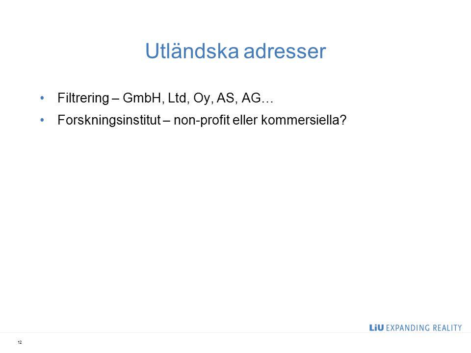 Utländska adresser Filtrering – GmbH, Ltd, Oy, AS, AG… Forskningsinstitut – non-profit eller kommersiella? 12